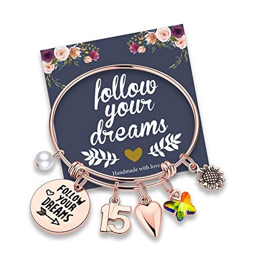 M MOOHAM 15th Birthday Gifts for Teen Girls, 15 Year Old Birthday Gifts for Daughter Granddaughter Birthday Bracelets for Twins Gifts Birthday Present Happy 15th Birthday