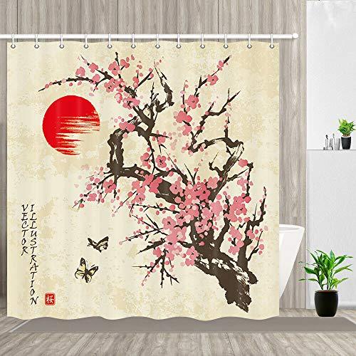 Rote Pflaume Dekorativer Duschvorhang kann gewaschen & getrocknet Werden,12Haken,180X200cm,geeignet für Badezimmer im asiatischen Stil