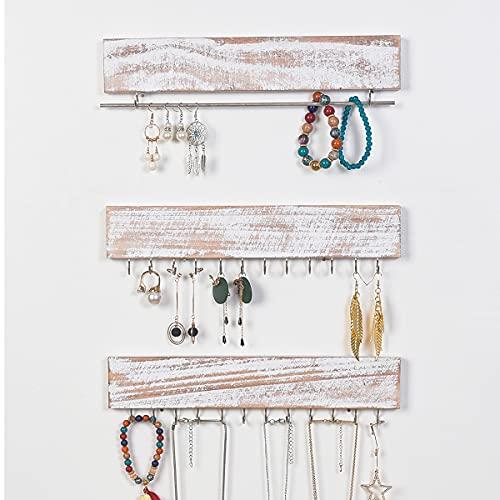 RHF Jewelry Organizer Wall Mounted Set of 3, Wood Hanging Jewelry Organizers, Necklace Holder,Bracelets Hook Rings Racks,Earring Bar, Rustic Wood & Metal Organizer, 12 Inch 26 hooks, 2 Sets Pack,White
