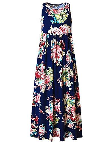 Maxi Dresses for Girls 6X 7 Summer Floral Floor Length Flower Cotton Dresses (Navy Blue 6-7 Years)
