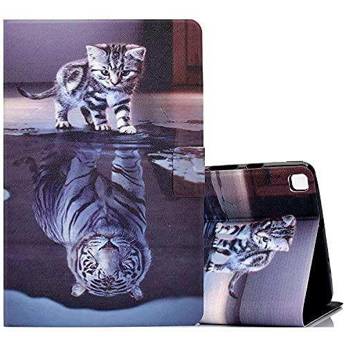 ONETHEFULCarcasaLibroFundaTabletSamsung Galaxy Tab S5e 10.5' 2019 T720 T725CoverFundasProtectorconPU CueroySoporte- Gato y Tigre