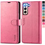 TUCCH Case Wallet for Galaxy S21 5G, Magnetic PU Leather Stand [RFID Blocking] Card Slot Protective Folio Flip Cover with [TPU Shockproof Interior Case] Compatible with Galaxy S21 6.2-Inch, Hot Pink