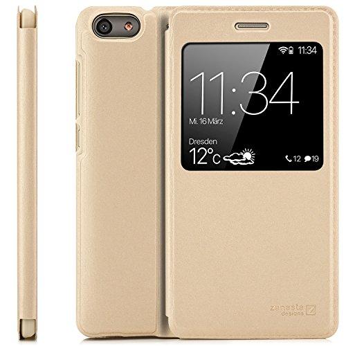 Preisvergleich Produktbild zanasta Tasche kompatibel mit Huawei G Play Mini (CHC-U01) Case Schutzhülle Flip View Cover mit Fenster und Kameraschutz / Gold