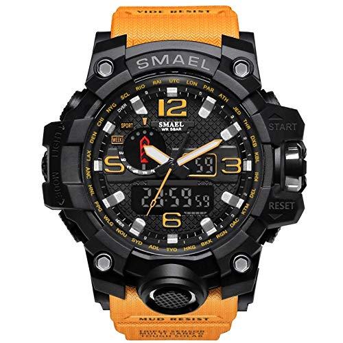 2021 Reloj de hombre, reloj deportivo para hombre, pantalla dual analógica, digital, LED, reloj de cuarzo electrónico, resistente al agua, reloj militar de natación 1545Orange