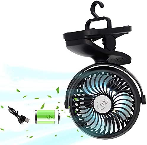 Camping Fan with LED Lantern Battery Operated Clip on Stroller Fan with Hanging Hook for Tent product image