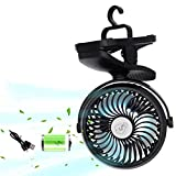 Camping Fan with LED Lantern, Battery Operated Clip on Stroller Fan with Hanging Hook for Tent, Mini Fan for Camping Tent, Car RV, Emergency Outages