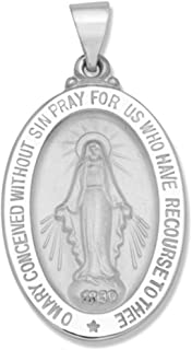 14k Yellow Gold and White Gold Polished Miraculous Virgin Mary Double Sided Oval Pendant Medals