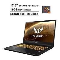 ASUS TUF 17.3 Inch FHD 1080p Gaming Laptop - AMD Ryzen 7 3750H up to 4.0 GHz, NVIDIA GeForce GTX 1650 4GB, 16GB DDR4 RAM, 512GB SSD (Boot) + 2TB HDD, Backlit KB, WiFi, Bluetooth, HDMI, Windows 10