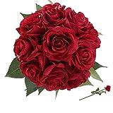 StarLifey 1 Manojo 10 de Cabeza Rosas Flores Artificiales la Decoración de la Boda de la Fiesta de Jardín Casero Rojo