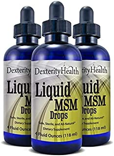 Dexterity Health Liquid MSM Drops, 3-Pack of 4 oz. Dropper-Top Bottles, 100% Sterile, Vegan, All-Natural and Non-GMO, Cont...
