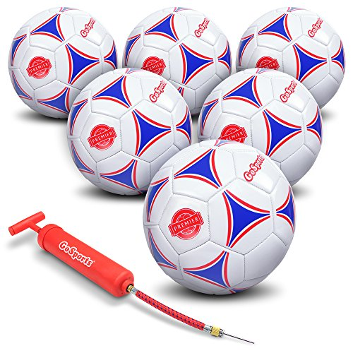 GoSports Premier Soccer Ball with Premium Pump & Mesh Carrying Bag (6 Pack), Size 4, Multicolor