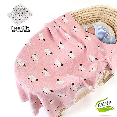 Strickdecke Baumwolle Babydecke Kuscheldecke, Odot Kinderwagen im Freien Schafe Motiv Kinderdecke Krabbeldecke Perfekt für Mädchen und Jungen Babys (Pink,100 x 80 cm)