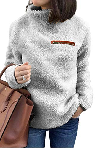 onlypuff Pullover Sweaters for Women Warm Top Fleece Sweatshirt Tunic Solid Color Gray S