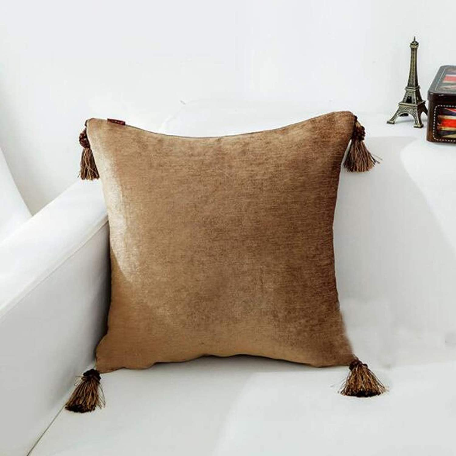 QYSZYG Pillow Solid color Sofa Cushion Tassel Pillow Living Room Square Pillowcase with Core Velvet Pillow Bed Backrest Pillow (color   F, Size   50cm50cm)