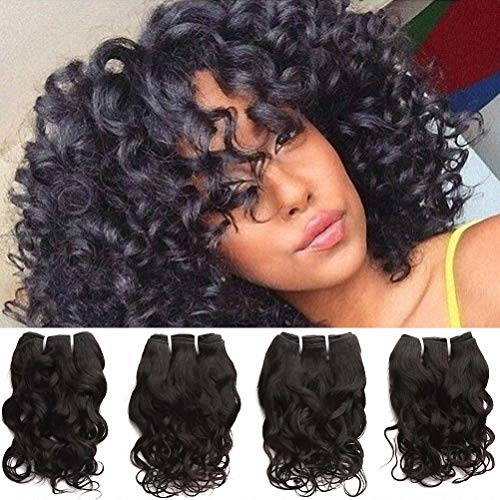 Brazilian Curly Human Hair 4 Bundles Wet And Wavy Human Hair Weave Virgin Remy Hair Real Raw 100% Unprocessed 8A Virgin Hair Bundle Deals Loose Italian Curl Natural Black Color 8 Inch 50g/Pc