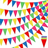 RUBFAC 1020ft 720pcs Colorful Flag Pennants Multicolor Rainbow Pennant Banner Nylon Cloth Banner, Garland for Grand Opening, Party Celebrations, Classroom Decoration