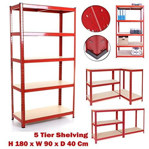 Heavy Duty Steel Gegalvaniseerd 5 Tier Garage Shelf Racking Unit Opslagrekken, 180cm x 90cm x 40cm, 875KG Capaciteit Extra Brede Schuur Opslag Plank, 5 Jaar Garantie H 180 x W 90 x D 40 Cm Rood