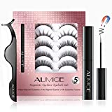 5 Pair Magnetic Lashes with Eyeliner and Applicator Tool Kit Natural Look for Women,Magnetic Eyeliner and 3D Magnetic False Eyelash Full Eye System with Tweezers Suit Reusable Waterproof