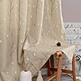 jinchan Beige Curtains for Bedroom 84 Inch Length Floral Embroidered Drapes for Living Room Embroidery Grommet Window Curtain Panels Set (2 Panels, Beige)