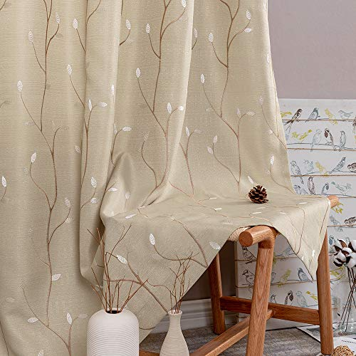jinchan Beige Curtains for Bedroom 63 Inch Length Floral Embroidered Drapes for Living Room Embroidery Grommet Window Curtain Panels Set (2 Panels, Beige)