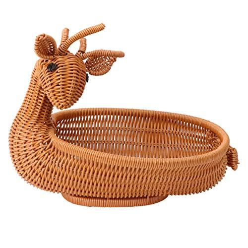 YARNOW Centromesa decorativa de mesa, cesta de fruta, cesta de ratán, cuenco de fruta con contrapeso decorativo, cesta de fruta, palillo seco, caramelos, bandeja de servir