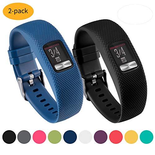 Vozehui-Armband für Garmin Vivofit 4, Glatte Silikon-Ersatzarmbänder für Garmin Vivofit 4 Activity Tracker, mit sicheren Metall-Uhrenverschluss-Schnallenbändern Groß Klein