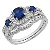 Round Blue Sapphire & White Diamond Ladies 3 Stone Halo Bridal Engagement Ring With Matching Band Set, 10K White Gold, Size 7