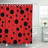 JOOCAR Design Duschvorhang, abstraktes Marienkäfer-Muster, rote & schwarze Punkte, Tier, hell, wasserdichter Stoff, Badezimmer-Deko-Set mit Haken