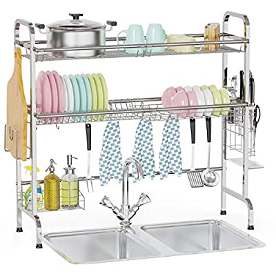 Over The Sink Dish Drying Rack, Veckle 2 Tier L...