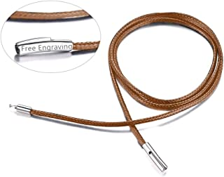 FaithHeart Braided Leather Cord Necklace with Stainless...