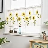 Wingbind Cortinas cortas con diseño de margaritas amarillas, diseño de girasol, para decoración de puerta de cocina, balcón, 50 x 100 cm