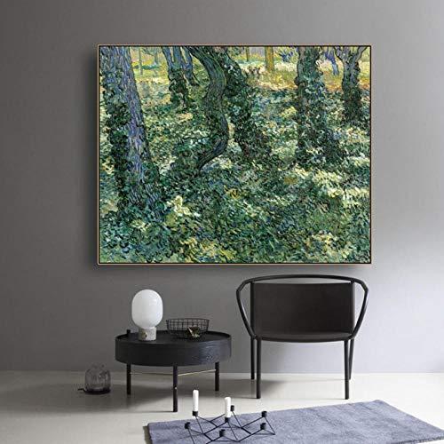 Wydlb kalligrafie schilderij Green Forest canvas, posters en afdrukken op de muur voor woonkamer slaapkamer Home Decoration Pictures 90x70cm No Frame