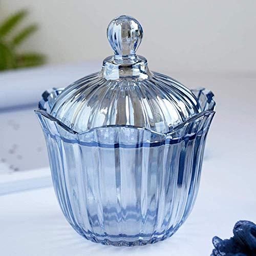 LONGJUAN-C Jarrones Home & Kitchen, de Cristal Azul Transparente con Tapa de Vidrio Tarro del Caramelo de Almacenamiento Tarro Tarro del bocado del Caramelo Caja de Almacenamiento Porcelana