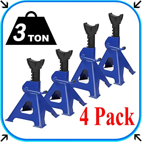 ZanGe 3 Tonne Axle Stand 2 Pairs Ratchet Heavy Duty Metal Steel Vehicle Stand Lifting Floor Jack...