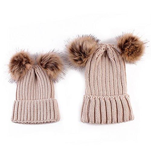 Rehomy Madre Bambino Maglia Lana Beanie Caldo Inverno Pelliccia Pom Bobble Cappello Crochet Cap per Donne Bambini cachi M
