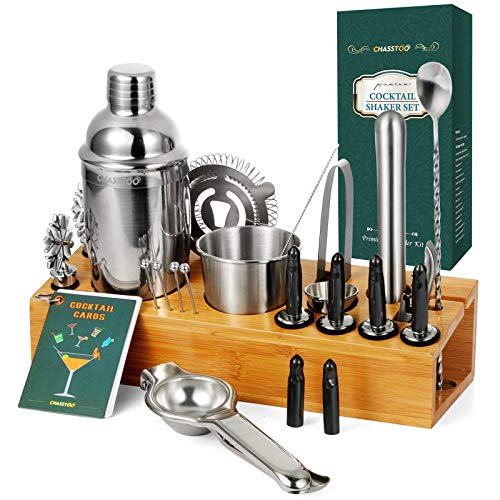 CHASSTOO 28 Pieces Cocktail Shaker Set with Bamboo Stand, Mixology Bartender Kit, Stainless Steel Bar Tools Set with Cocktail Recipe Cards, Professional Bar Accessories for Home Mixing Experience