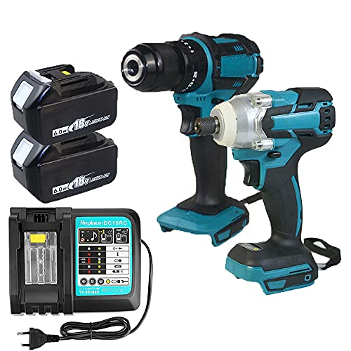 18V Cordless Combi drill & Cordless Brushless Impact Driver With 2 Pack 5.5Ah Batteries and DC18RC Charger Set For Makita   Power Tool Set