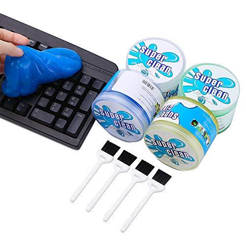 4 Stück Tastatur Reinigungsgel Keyboard Cleaner Universal Tastatur Staubreiniger mit 4 Brushes für Laptop PC Tablet Tastaturen,Auto Entlüftungsöffnungen,Kameras, Drucker,Rechner,Lücken und Schlitze