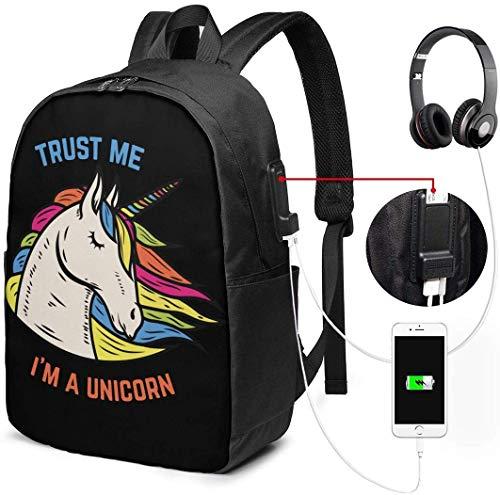 Trust Me I Am A Unicorn Waterdichte Laptop Rugzak met USB Opladen Poort Hoofdtelefoon Past 17 Inch Laptop Computer Rugzakken Reizen Daypack School Tassen voor Mannen Vrouwen