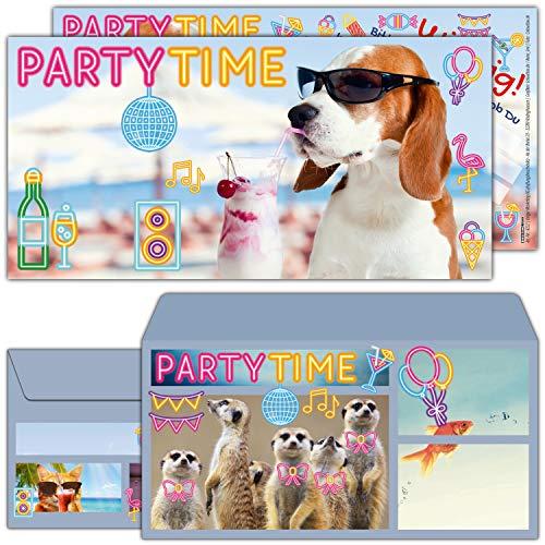 12-er Set Party-Hund Einladungskarten mit Umschlag zum Kindergeburtstag oder Party - Einladung für Kinder, Teenager & Erwachsene von BREITENWERK