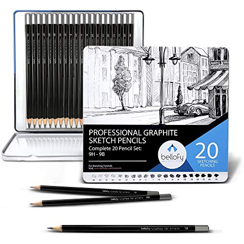 Bellofy Graphite Sketching Pencils | Complete Professional Drawing Pencils for Artists | 9B-9H Art Pencils for Drawing and Shading | Sketch Pencils for Drawing Sketching Supplies | Graphite Pencil Set