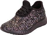 Cambridge Select Girls' Low Top Glitter Encrusted Lace-Up Fashion Sneaker (Toddler/Little Kid/Big Kid),2 M US Little Kid,Multi/Black Glitter