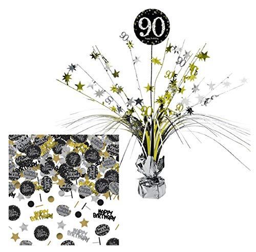 Feste Feiern Tischdekoration 90. Geburtstag I 2 Teile Tischaufsatz Tischaufsteller Kaskade Konfetti 90 Gold Schwarz Silber metallic Tischkaskade Party Deko Set