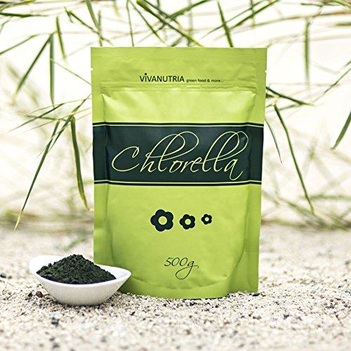 VivaNutria, 500g Chlorella Pulver, Chlorella-Pulver, Chlorellapulver ohne Zusätze, 100% rein und natürlich, aus kontrolliertem Anbau, laborgeprüft, schonende Verarbeitung mit niedrigen Temperaturen, Rohkostqualität, für Smoothies, vegan
