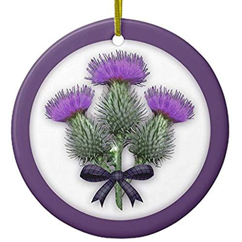Diuangfoong Purple Scottish Thistles with Tartan Plaid Bow Ceramic Ornament Circle