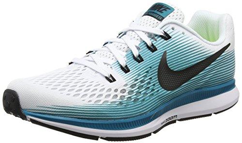 Nike Herren Air Zoom Pegasus 34 Laufschuh, Turquoise (White/Black/Blustery), 39 EU