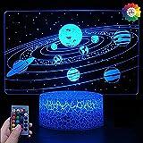 Ilusión Optica 3D Planet Sistema Solar Luz Nocturna 7/16 Colores Cambio de Control Remoto USB de Suministro de Energía LED Lámpara de Mesa Lámpara Regalo de Cumpleaños Navidad