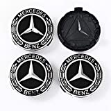 Cear bics 4 Pieces 75mm Black Center Wheel Hub Caps for Mercedes-Benz Applicable to All Models (Black)