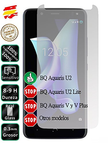 Movilrey Protector para BQ Aquaris U2 Cristal Templado de Pantalla Vidrio 9H para movil