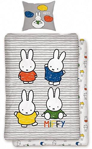 Miffy Bettwäsche 135x200 cm 80x80 cm Kissenbezug Bettwäsche-Set Kinder Bettbezug Kinderbettwäsche Baumwolle Renforcé Öko-Tex Standard Deutsche Größe